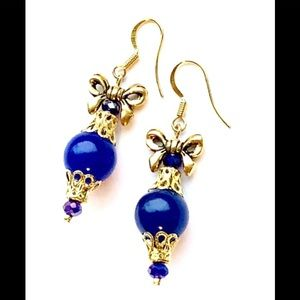 *SALE 3/$18 Blue Jade Gold Bow Ornament Earrings